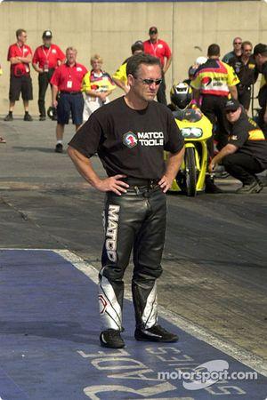 Craig Treble checks the track