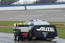 Ryan Newman's car under rain cover