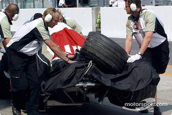 Jacques Villeneuve's wrecked BAR-Honda