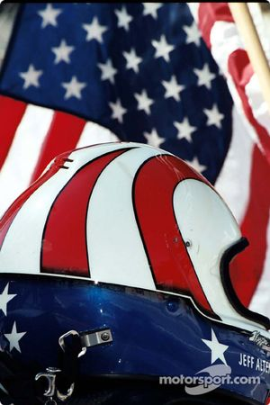 Flag and helmet of Jeff Altenburg