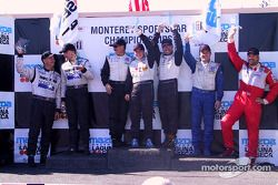 The podium: LMP 675 winners Steve Knight, Claudia Hurtgen and Chad Block with James Weaver, Butch Leitzinger, Jon Field and Rick Sutherland