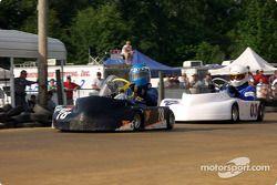 Star Champ kart racers get tangled up in the front straight-#77-Mike Eller, Jr., #18-Brent Baumgartner, #28-A.J. Curreli and #82-Josh Parker