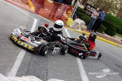 Holiday Inn Express Briggs Junior Sportsman-2 racers #26-Nathan Russell and #81-Steven Axtell battle through turn one from Park Avenue to Walnut Street