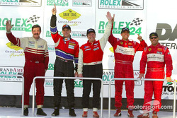 The podium: 2002 drivers champion Didier Theys celebrates with class champions
