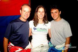 Rubens Barrichello, Bia Figueiredo and Felipe Massa