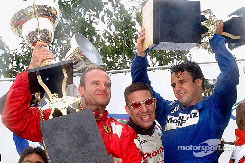 Race winners Rubens Barrichello, Tony Kanaan and Felipe Massa