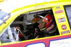 Race winner Kurt Busch arrives in victory lane