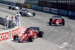 Patrick Tambay leads René Arnoux, Keke Rosberg and Jacques Laffite