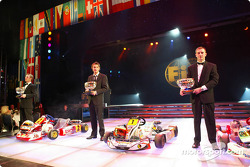 Second place, Ronnie Quintarelli, first place, Giedo Van der Garde, third place, Davide Fore
