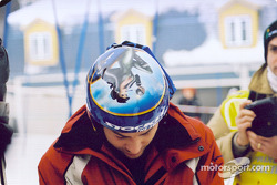 Lindo diseño en el casco de Jacques Villeneuve