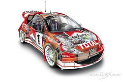 En el nuevo Peugeot 206 WRC 2003