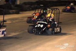 Dirt World Championships: #14-Brandon Bull looks for the inside line in Briggs Junior Champs during the Dirt World Championships at Daytona Beach Municipal Stadium.