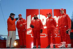 Michael Schumacher, Rubens Barrichello, Luca Badoer y Luciano Burti