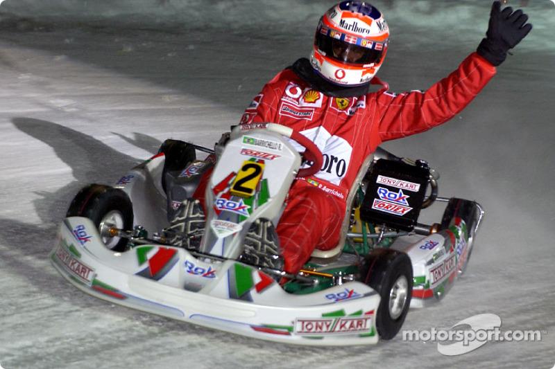 The kart race: Rubens Barrichello