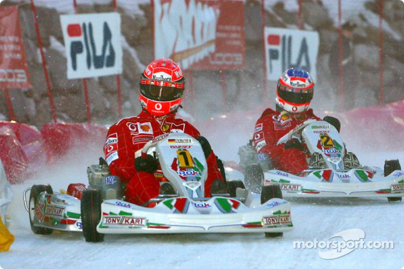 kart race: Michael Schumacher ve Rubens Barrichello