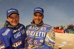 Winner Richard Sainct celebrates with Fabrizio Meoni