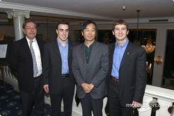 Fernando Alonso and Jarno Trulli with Kimitsuna Kidachi, Vice President of Marketing for JT. And representative of Mild Seven