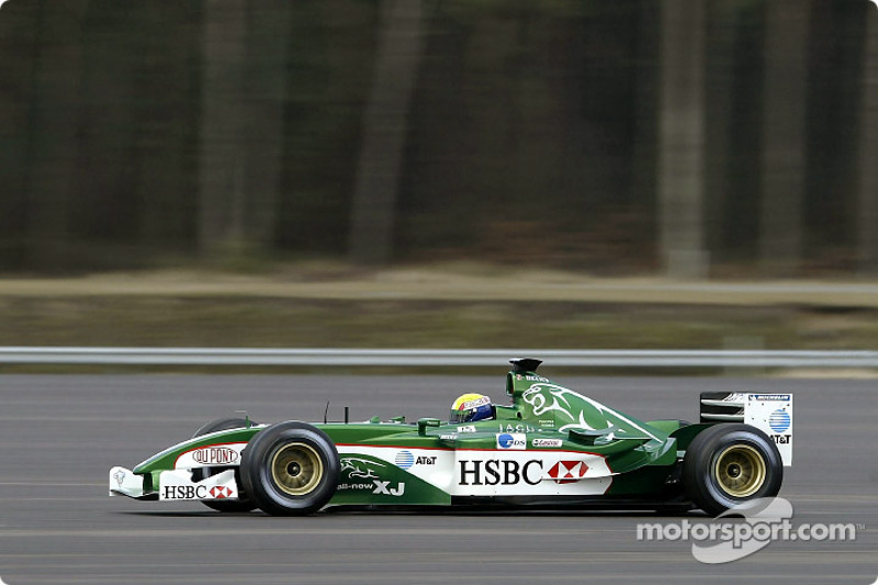 Mark Webber drives the new Jaguar R4 during a shakedown test at Ford's Proving Ground in Lommel, Bel