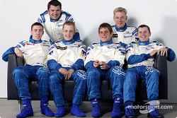 The Ford Focus WRC drivers Mikko Hirvonen, François Duval and Markko Martin with their copilots