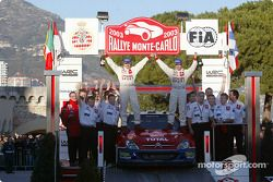 Rally winners Sébastien Loeb and Daniel Elena celebrate with the team