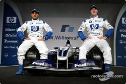 Juan Pablo Montoya and Ralf Schumacher with the new BMW Williams F1 FW25