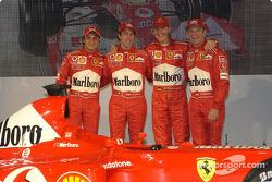 Felipe Massa, Luca Badoer, Michael Schumacher and Rubens Barrichello with the new Ferrari F2003-GA
