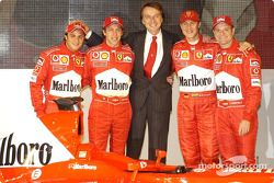 Luca di Montezemelo, Felipe Massa, Luca Badoer, Michael Schumacher and Rubens Barrichello with the new Ferrari F2003-GA
