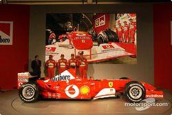 Jean Todt, Felipe Massa, Luca Badoer, Michael Schumacher and Rubens Barrichello with the new Ferrari F2003-GA