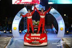 The podium: winners Marcus Gronholm and Timo Rautiainen