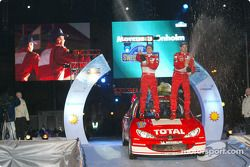 The podium: winners Marcus Gronholm and Timo Rautiainen