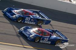 #83 1988 Nissan GTP: Tony Bean, Brian Goellnicht, and #38 1990 Nissan GTP: Brian DeVries