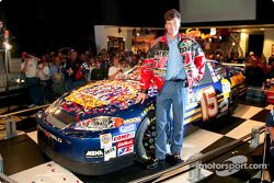 Michael Waltrip in front of his winning Daytona 500 car, the No. 15 NAPA Auto Parts Chevrolet Monte Carlo