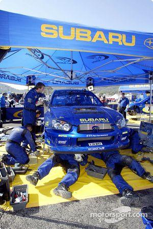 Área de servicio del Subaru World Rally Team en Kemer