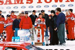Race winner Joe Nemechek celebrates on victory lane
