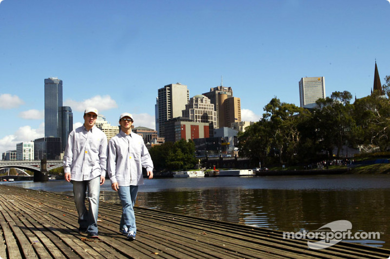 Fernando Alonso and Jarno Trulli visit Melbourne