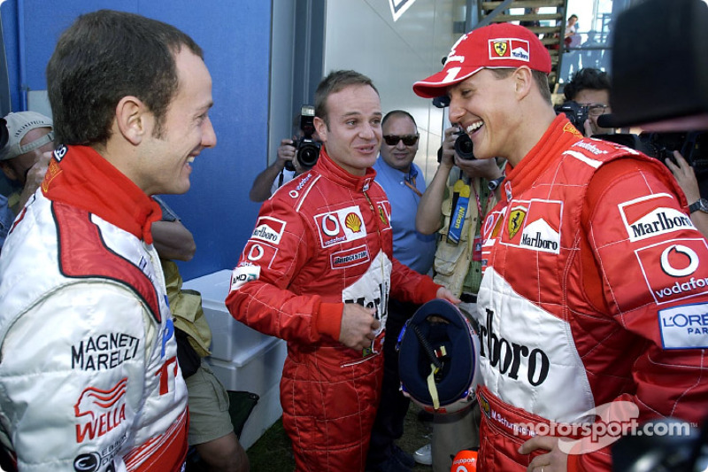 Cristiano da Matta, Rubens Barrichello and Michael Schumacher