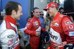 Cristiano da Matta, Rubens Barrichello and Michael Schumacher
