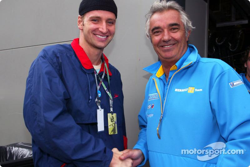 Flavio Briatore con el nadador Massimiliano Rosolino, ganador de tres medallas olímpicas de oro