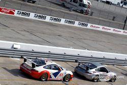 #42 Orbit Racing Porsche 911 GT3 RS: J.A. Policastro Jr., Joseph Policastro Sr., and #61 P.K. Sport Porsche 911 GT3 RS: Bart Hayden, Gregor Fisken, Ian Donaldson