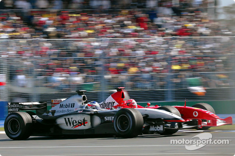 Какие-то титулы давались немцу проще, какие-то – сложнее. В 2003-м достойную конкуренцию лидеру составил молодой Кими Райкконен: за рулем McLaren он сохранял шансы на чемпионство до последней гонки, но все же уступил