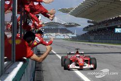 Rubens Barrichello takes checkered for 2.