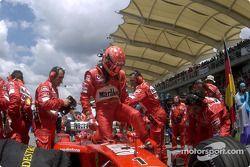 Michael Schumacher arrives gridde