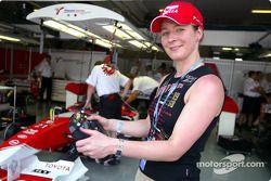 Claudia Pechstein visits Toyota team