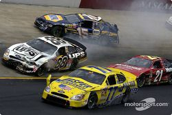 Dale Jarrett, Dave Blaney, Michael Waltrip and Ricky Rudd caught up a in an early wreck