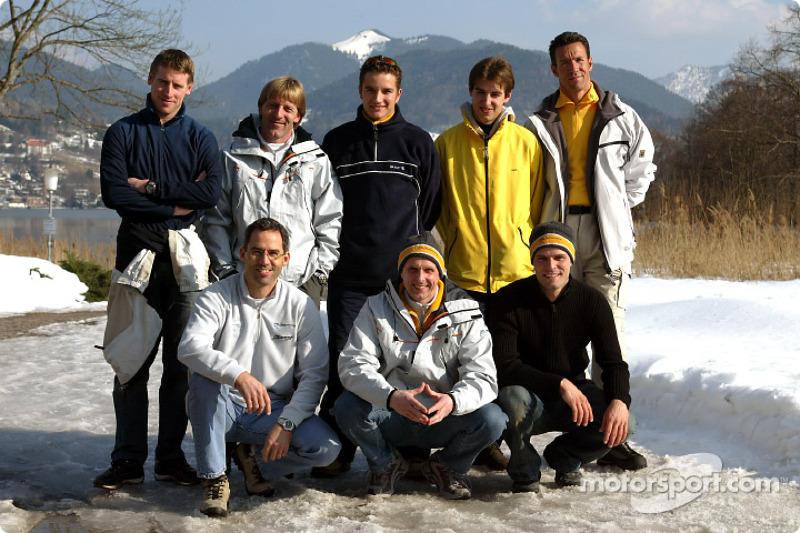 Back row, from left: Peter Dumbreck, Joachim Winkelhock, Jeroen Bleekemolen, Manuel Reuter. Front row, from left: Alain Menu, Volker Strycek, Marcel Tiemann