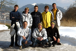 Back row, from left: Peter Dumbreck, Joachim Winkelhock, Jeroen Bleekemolen, Manuel Reuter. Front row, from left: Alain Menu, Volker Strycek, Marcel Tiemann