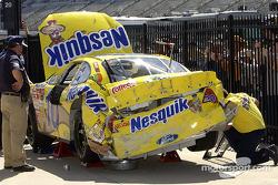 El auto dañado de Scott Riggs