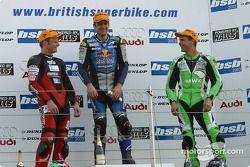 Race 2 podium: race winner Michael Rutter with Shane Byrne and Glen Richards