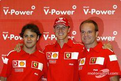 Shell basın toplantısı: Felipe Massa, Michael Schumacher ve Rubens Barrichello