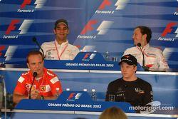 Thursday basın toplantısı: Rubens Barrichello, Kimi Raikkonen, Antonio Pizzonia ve Cristiano da Matt